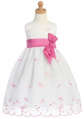 Pink Embroidered Butterfly Organza Dress w/Taffeta Waistband