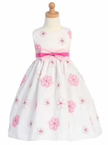 Pink Embroidered Cotton Dress w/Taffeta Waistband & Bow