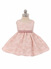 Pink Embroidered Floral Infant Dress w/ Pearl Waistband