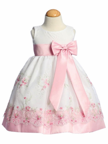 Pink Embroidered Organza Dress w/ Taffeta Waistband & Bow