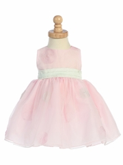 Pink Embroidered Organza Polka Dot Dress w/Shantung Waistband