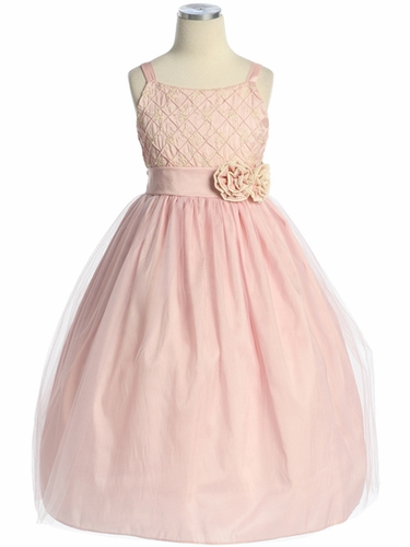 Pink/Ivory Embroidered Taffeta Tulle Dress