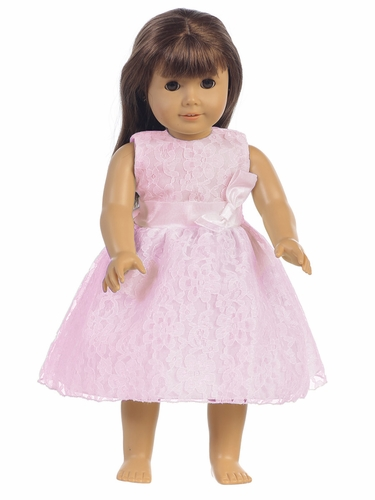 "Pink Embroidered Tulle Dress w/ Bow 18"" Doll Dress"