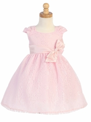 Pink Embroidered Tulle Dress w/ Bow