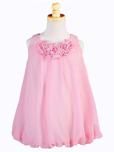 Pink Euro Chiffon Rosebud Dress