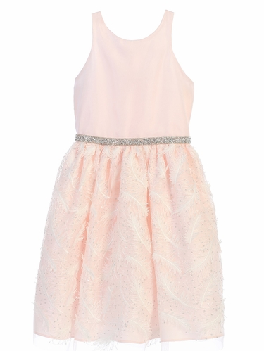 Pink Feather Patch Mesh Dress