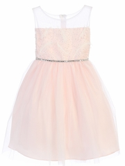 CLEARANCE - Pink Feather Patch Top & Mesh Skirt Dress