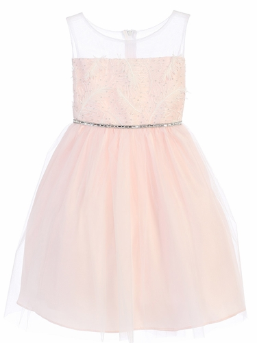 Pink Feather Patch Top & Mesh Skirt Dress