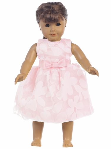Pink Floral Burnout Organza 18'' Doll Dress
