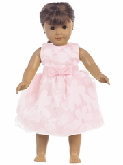 "Pink Floral Burnout Organza 18"" Doll Dress"