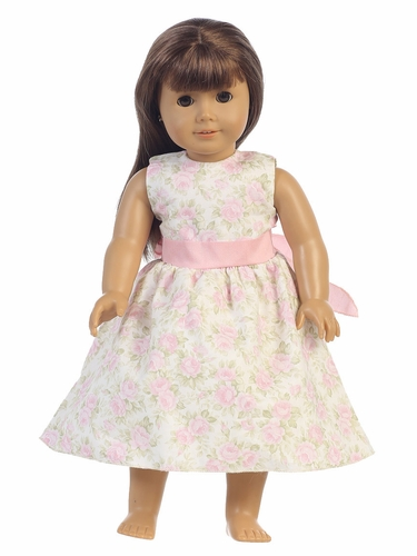 "Pink Floral Dress w/ Sash 18"" Doll Dress"