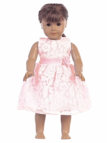 "Pink Floral Embossed Lace 18"" Doll Dress"