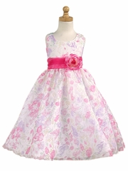 CLEARANCE - Pink Floral Organza Tencel Print Dress
