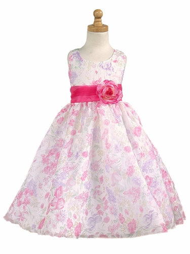 Pink Floral Organza Tencel Print Dress