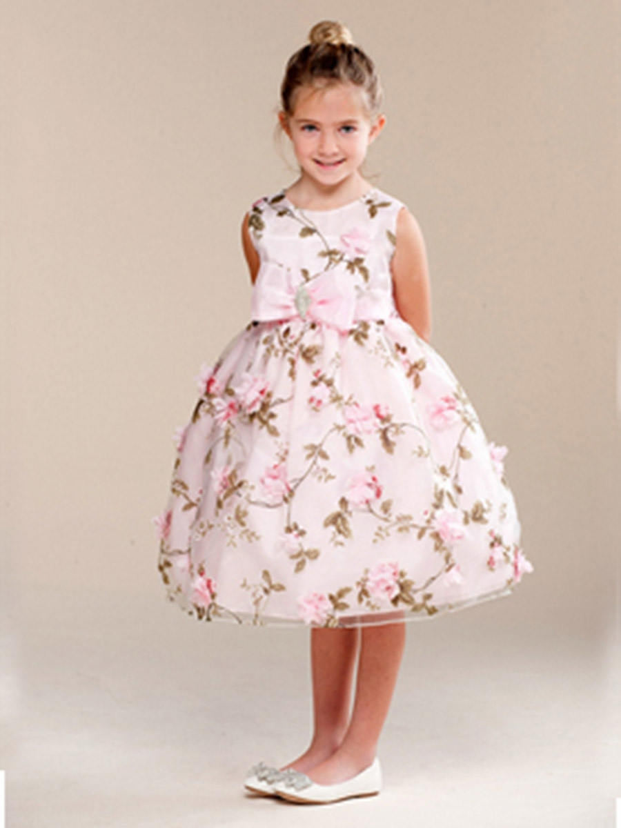 Floral print bow brooch flower girl dress pink floral print bow brooch flower girl dress dhlflorist Gallery