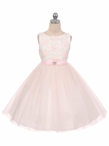 Pink Floral Satin Ribbon Embroidered Illusion Dress