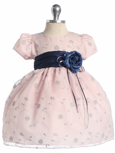 Pink Flower Embroidered Organza Dress