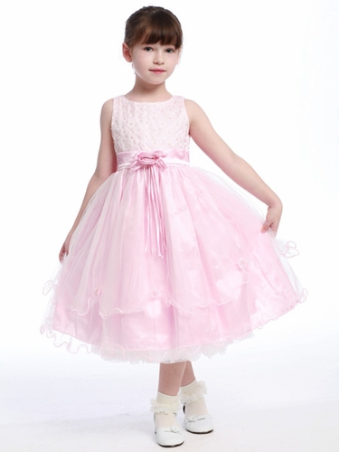 Pink Flower Girl Dress -  Cross Pattern Organza w/ Rose Buds