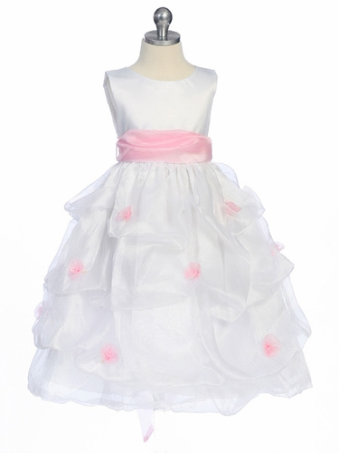 Pink Flower Girl Dress - Matte Satin Bodice Gathered Organza