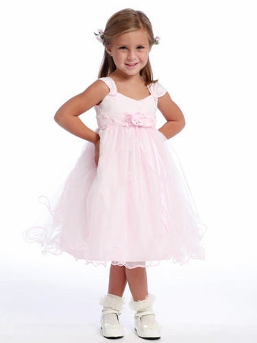 Pink Flower Girl Dress - Matte Satin Bodice Rose Bud
