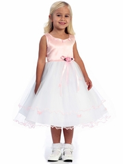 Pink Flower Girl Dress - Matte Satin Bodice with Butterflies
