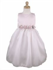 CLEARANCE - Pink Flower Girl Dress - Matte Satin Organza Dress