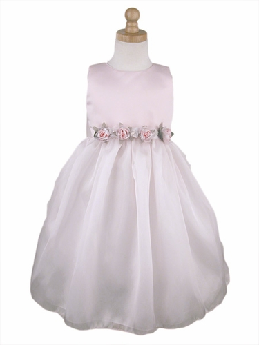 Pink Flower Girl Dress - Matte Satin Organza Dress