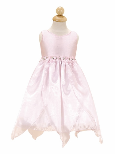 Pink Flower Girl Dress - Organza Dress w/ Rosebuds
