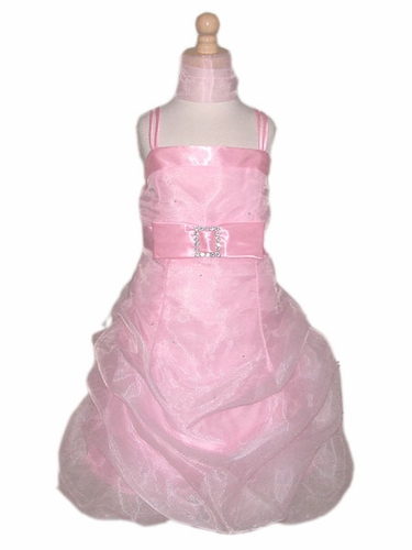 Pink Flower Girl Dress - Organza w/ Rhinestone Mini Dress