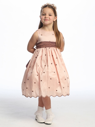 Pink Flower Girl Dress - Polka Dot Embroidered Taffeta