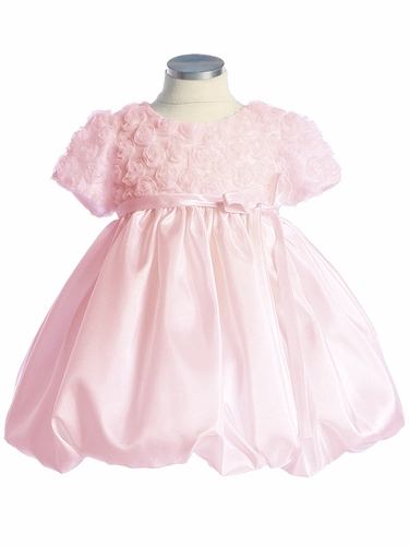 Pink Flower Girl Dress - Rose Embroidered Tulle Taffeta Dress