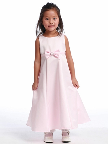 Pink Flower Girl Dress - Satin A-Line