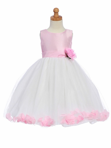 Pink Flower Girl Dress - Shantung Bodice w/ Tulle Skirt