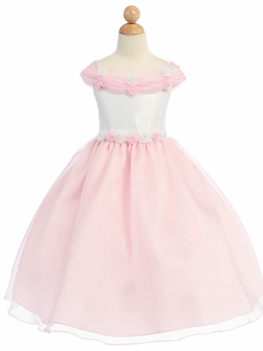 Pink Flower Girl Dress - Shiny Organza Rosebud Dress