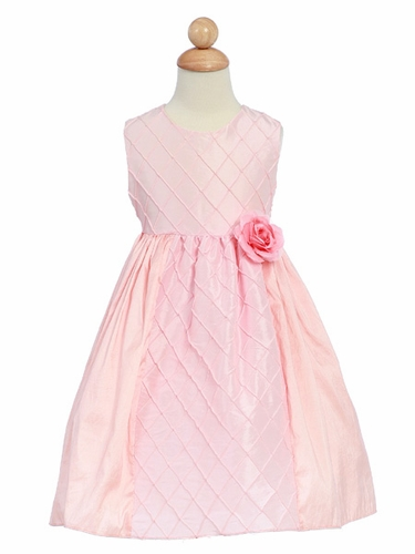 Pink Flower Girl Dress - Taffeta Cross Pattern