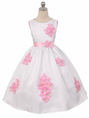 Pink Flower Petal Shantung Dress