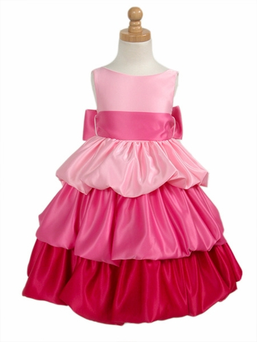Pink/Fuchsia Tri-Color Layered Satin Bubble Dress