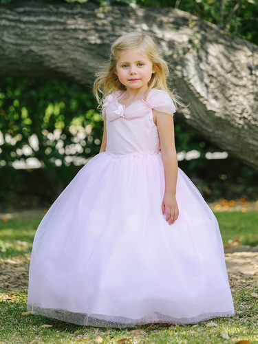Pink Gathered Organza Neckline Cinderella Dress