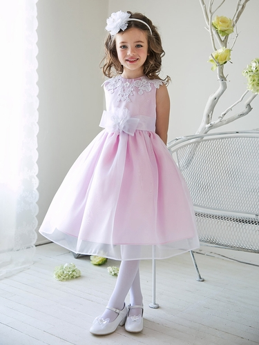 Pink Girls Organza Dress w/ Lace Bodice