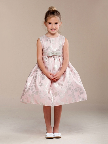 CLEARANCE - Pink Glitter Rose Pattern w/ Bow Flower Girl Dress
