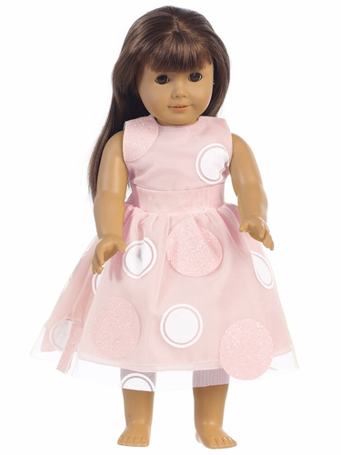"Pink Glittered Polka Dot Tulle 18"" Doll Dress"