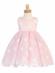 Pink Glittered Polka Dot Tulle Dress