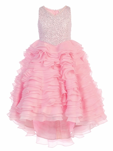 Pink Gwen and Zoe V-Neck Sparkle Ruffle High Low Dress