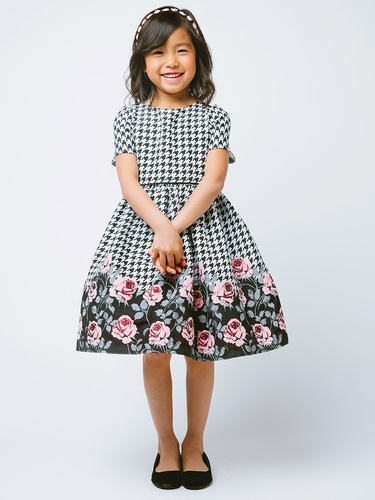 Pink Houndstooth Rose Print Jacquard Dress