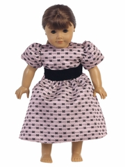 Pink Jacquard w/ Bows Doll Dress