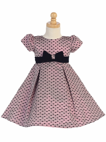 Pink Jacquard w/ Bows Holiday Dress