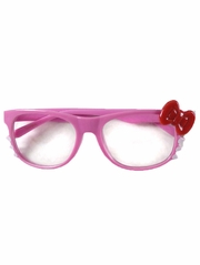 Pink Kids Clear Polycarbonate Lens Sunglasses w/ Red Bow