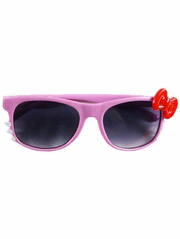 Pink Kids Smoke Gradient Polycarbonate Lens Sunglasses w/ Red Bow