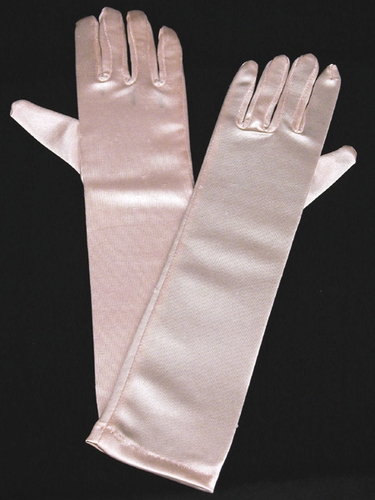 Pink Long Satin Gloves