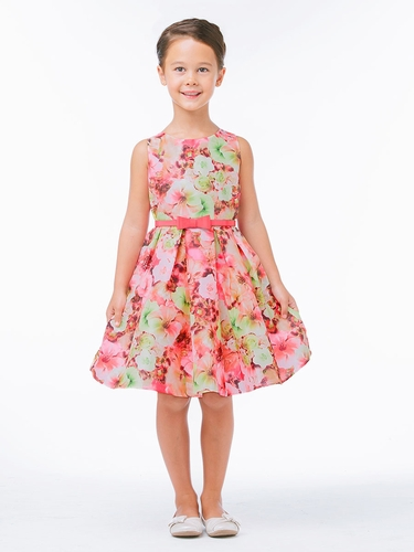 Pink Mixed Modern Flower Dress w/ Belt